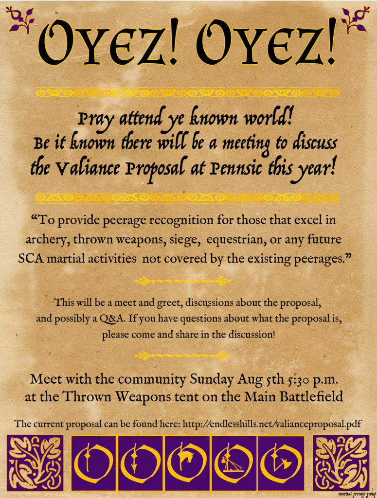 Flyer for the Pennsic Valiance Proposal Meeting